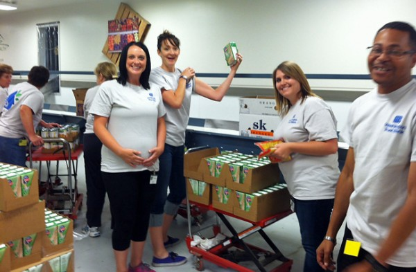Helping out at the food bank.